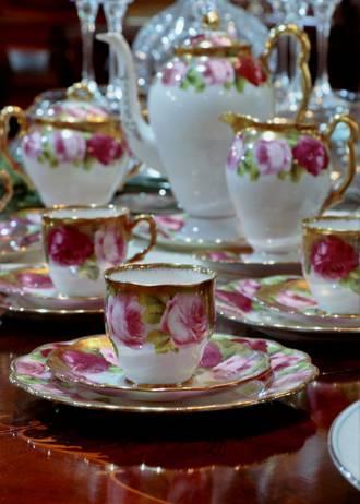 Royal Albert Old English Rose Coffee Set - Heavy Gilt - Rare Demitasse SOLD