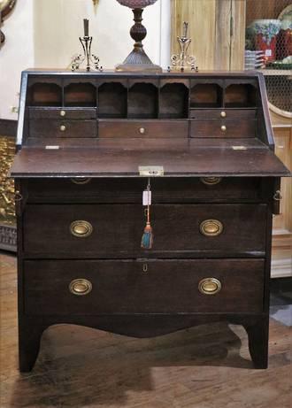 Small Oak Georgian Bureau Desk circa 1750 SOLD