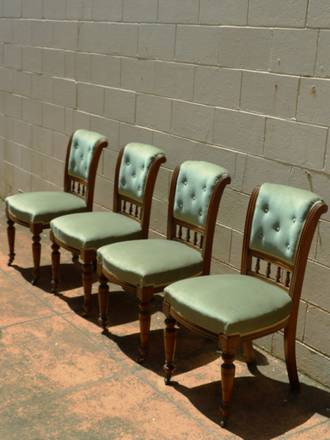 Edwardian Green Velvet Dining Chairs SOLD