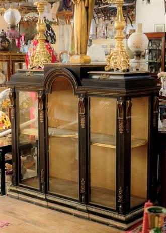 Original Gilded and Ebonized Regency Empire Style Glazed Cabinet