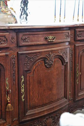 Huge French Antique Parquetry Sideboard $3950