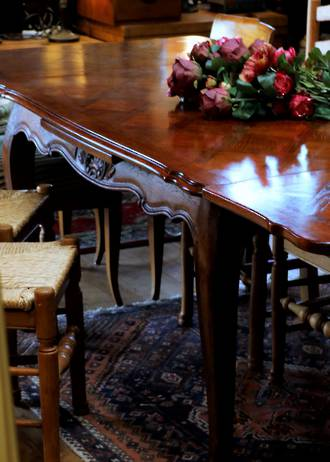 French Oak Provincial Extension Table Parquetry Top 1910 - SOLD