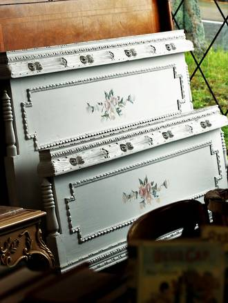 Antique French Bed - White with Painted Roses Circa 1910 $2750