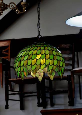 Handmade lead-light Green Slag Glass Light Shade