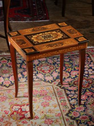 Florentine Music Box Table  ( no music box) side table $295.00