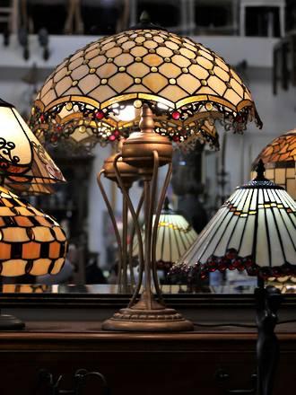 Large lead-light Parasol Table lamp