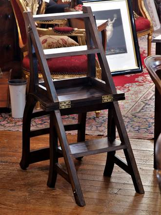 South African Blackwood Fold Out library Steps  Chair ladder -sold