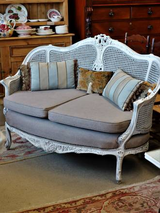 Original French Cane Sofa or Love Seat - Quality recent Upholstery