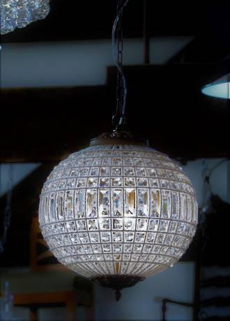 Spherical Crystal Basket Chandelier with Hand-Beaded Framework  Med