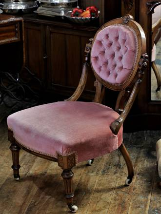 Pink Button-back Nursing Chair on Castors