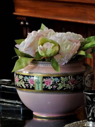 Large 19th Century Pink & Black  Jardinière Planter $350