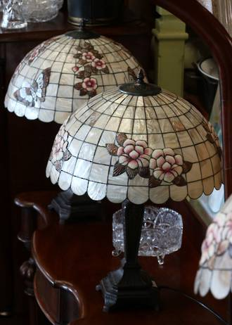 Vintage Shell Mosaic Table Lamps - Botanical Chinoiserie