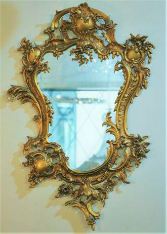 French Gilded Rococo Mirror $650