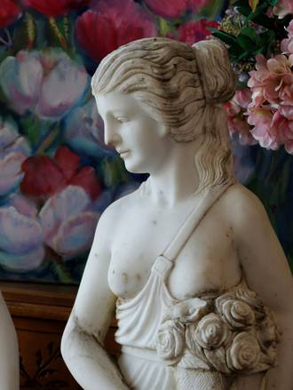 Semi-Nude Classical Carved Marble Statue - With Bouquet $9500