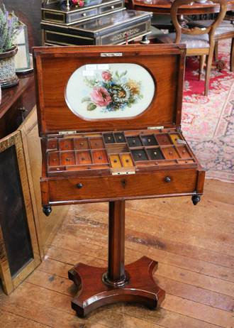 Extraordinary Fitted Georgian Sewing or Ladies Work Table - Hand-Painted Insert $1650