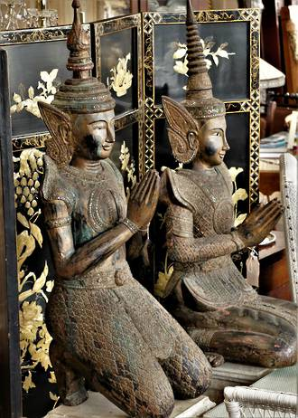Life Size Carved Wooden Siam Teppanom Thai Angels or Guardians $3700.00 each