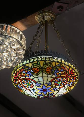 Stunning Art Nouveau Style Mosaic Suspended Lead-light Hanging Shade $950.00