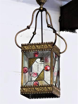 Huge Original Victorian Stained Lead-light Glass Lantern or Veranda Portico Light SOLD