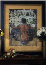 "Huge Glazed Print Diego Rivera's ""Woman With Calla Lilies"" Frida Khalo ModellingSold"