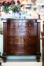 Georgian Era Cuban Mahogany Bow Front Chest of Drawers SOLD