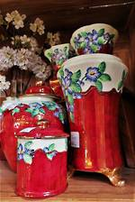 "Maling Collection - Priced Separately - Lustre Embossed ""Blossom Bough"" Cranberry Glaze"