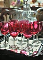 Hand-blown Cranberry Glasses  x 9