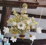 Silk Flower Chandelier with glass shades $950