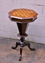 Antique Games or Work  Side Table with Inlaid Chess Board Top SOLD