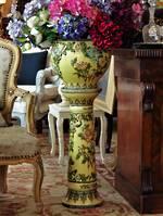 Victorian Majolica Jardiniere & Stand - Trickle Glazed Botanicals $1295.00