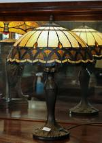 Olive Green & Gold Tiffany Style Table Lamp