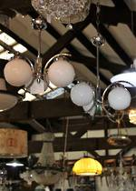 Original Art Deco Chrome Light Fixture(s) 3 Branch Globe -Pr Available $650 each
