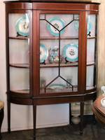 Antique Astragal Display Cabinet with Inlaid Banding and Curved glass