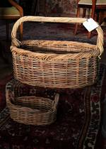 Large Antique French  Bakers Basket in Woven Willow