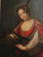 Large 18th Century Italian Portrait -Salome with John the Baptist's Head $4995 SOLD