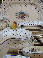 Country Kitsch Spode Polka Dot Dinner Service -  54 pieces -SOLD