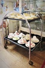 Art Deco Crome & Black Glass Drinks Trolley $650