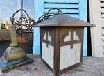 Genuine Art's & Crafts Copper & Opaque Glass hanging Light Shade