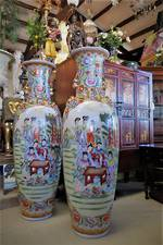 Pr HUGE Chinese Hand Painted Porcelain Entrance-way Vases $5995.00