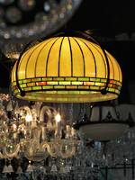 Large Pendant Ceiling Lead Light Glass Shade -  Arts & Crafts Style SOLD