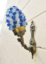 Blue & White Grape Sconces, cast brass base $900.00 pair