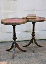 Vintage Pair of French Walnut Side Tables - Tooled Red Leather Tops SOLD
