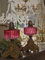 Cranberry Glass Kerosene Lamp - SOLD - Similar Available In Store