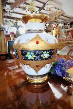 Large Antique Be-jeweled Venetian Glass vase