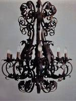 Wrought Iron Chandelier, Black, Gold or Bronze  6 arm $2250.00. 9 arm $3950.00