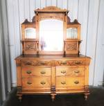Antique Kauri Sideboard, Carved and Mirrored $2750