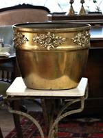 Huge German Made Brass Jardinière Planter with Applied Floral Reliefs  $950