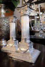 Superb Antique Sterling Silver Repousse Roman Column Pr Candlesticks