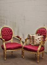 Pair of Antique French Gilt Armchairs - Burgundy Button-Backed  Brocade $1950.00pr