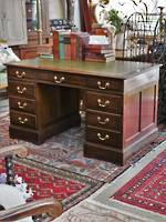 English Oak Partners Desk with Leather Top  $2750