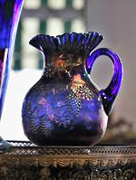 Rare Blue Carnival Glass Pitcher or Ewer Jug by Fenton $265